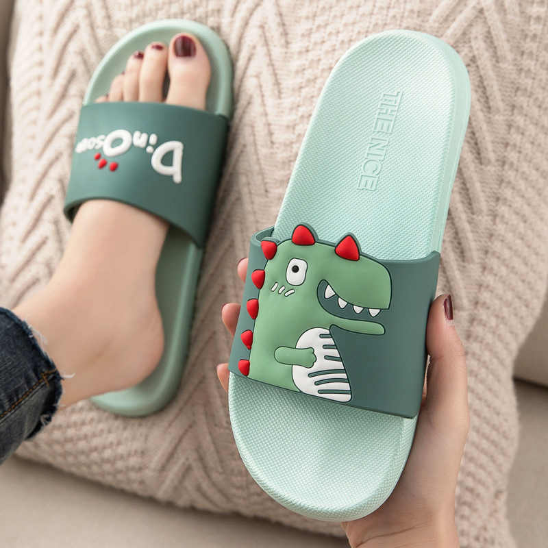 Summer Slides Women Slippers Cartoon Dinosaur Thick Bottom Beach Slides Bathroom Slide Sandals Women Men Couple Girls Boys Shoes