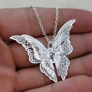 Women Hollow Out Butterfly Pendant Necklace Elegant Silver Plated Long Chain Necklaces Collier Sautoir Fashion Jewelry Gift(China)