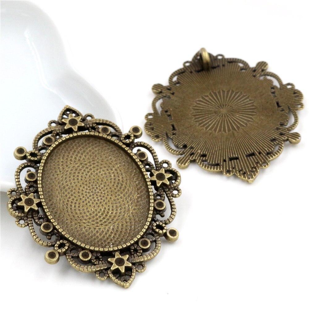 5pcs 30x40mm Inner Size Antique Bronze Pierced Style  Cabochon Base Setting Charms Pendant (B2-11)
