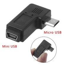 90 ° esquerda & direita angular mini usb 5pin fêmea para micro usb masculino adaptador de sincronização de dados