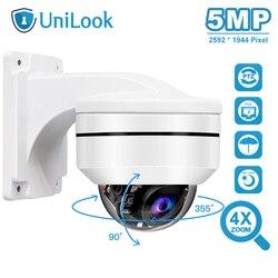 Cámara de seguridad IP de UniLook al aire libre de 5 MP, PTZ, PTZ, 2592x1944 P, súper HD, 4X, Zoom óptico, cámara domo PTZ, a prueba de vandalismo con soporte