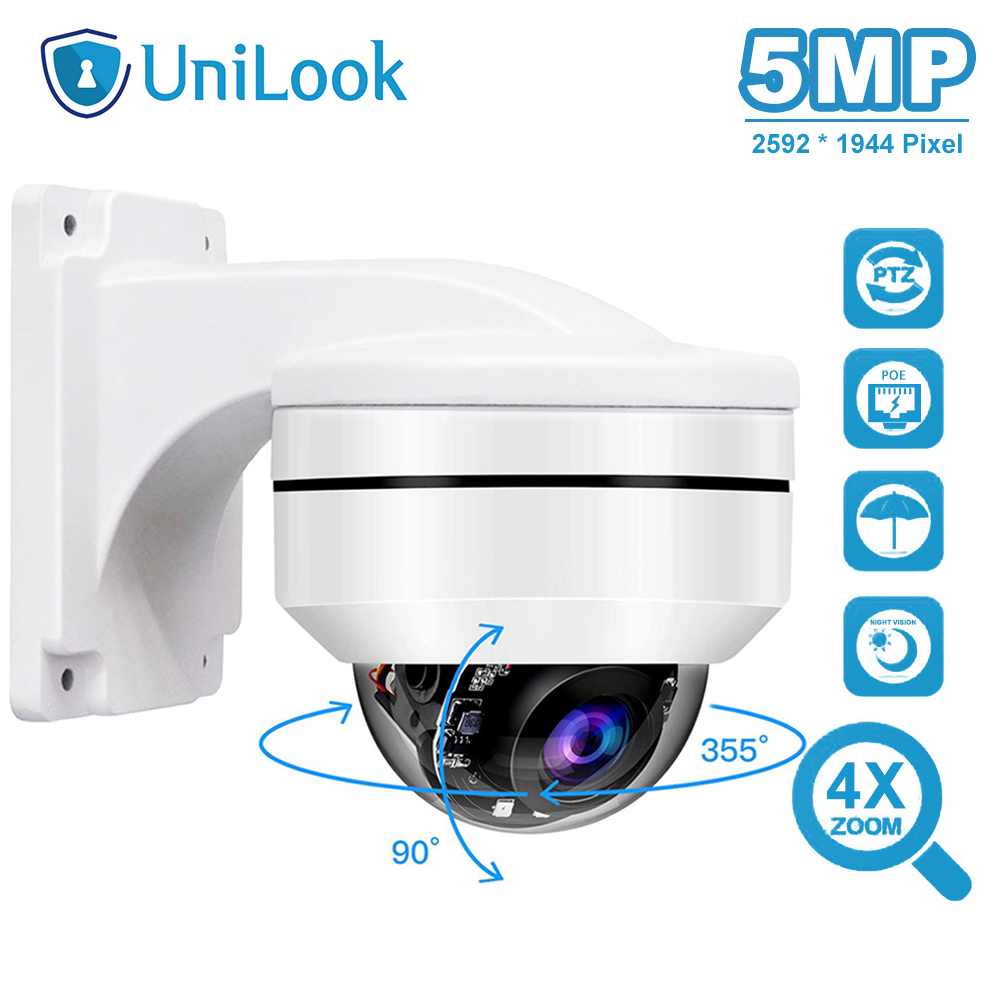 UniLook Outdoor 5MP PoE PTZ Security IP Camera 2592x1944P Super HD 4X Optical Zoom PTZ Dome Camera Vandal-Proof With Bracket