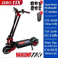 ZERO-patinete eléctrico de doble Motor, Scooter de 11X pulgadas, 72V, 2020 W, todoterreno, 3200 km/h, doble conducción, cero 11X, novedad de 110