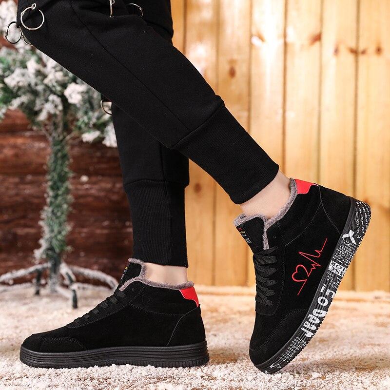TUINANLE-zapatillas de deporte de felpa para mujer, zapatos vulcanizados cálidos de talla grande 35-44, informales, altos amantes de los zapatos, planos con Graffiti
