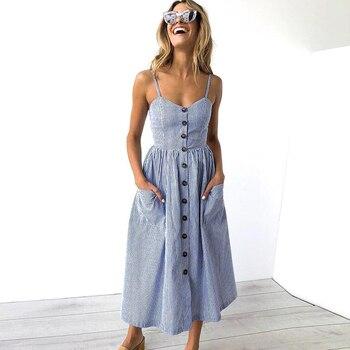 Women Dress Summer Striped Button Sundress Sexy V Neck Halter Top Sleeveless Dresses Female Casual Plus Size Robes Vestidos striped halter neck crop shell top