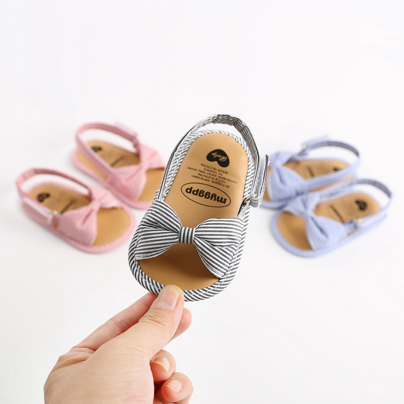 2020 Summer Baby Girls Sandal Cute Bow Striped Breathable Anti-Slip Shoes Sandals Toddler Soft Soled Shoes 0-18 Months