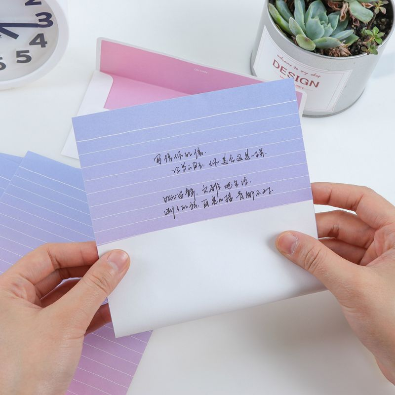 Creative Beautiful Letterhead Envelope Small Fresh Gradient Color Students Writing Supplies Gifts