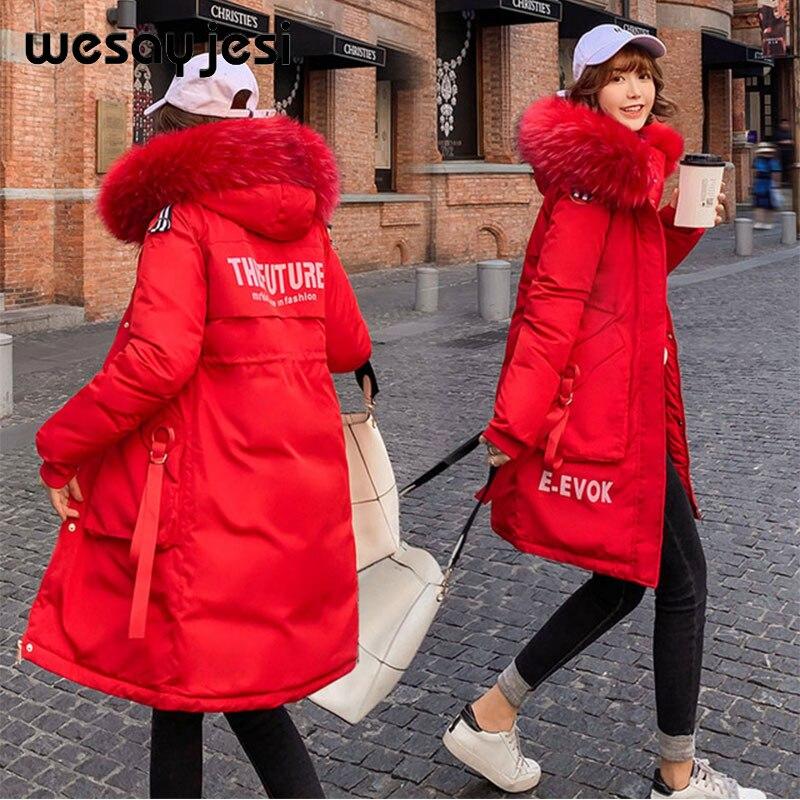 куртка женская парка женская 2019 зимние парки с буквенным принтом, пальто с карманами на молнии, двойной теплый большой меховой воротник, пов