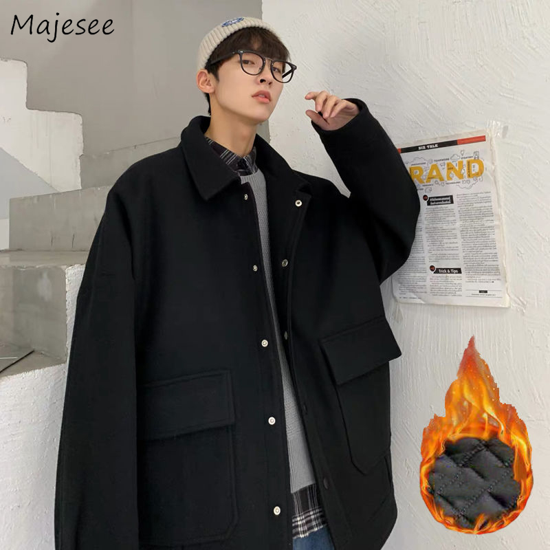 Wool Men Solid Big Pockets Winter Thick High Quality Plus Size 3XL All-match Streetwear Mens Clothing Coat Korean Fashion Casual