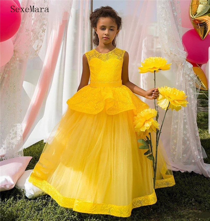 SexeMara Yellow Flower Girl Dress for Wedding Tulle Lace Sheer Neck Vintage Communion Pageant Dresses Kids Clothes Custom Made
