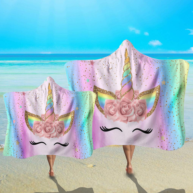 Adult Children Microfiber Beach Cloak Towel New Novelty Unicorn Pattern Cartoon Hooded Bath Poncho Towel Creative Beach Mat