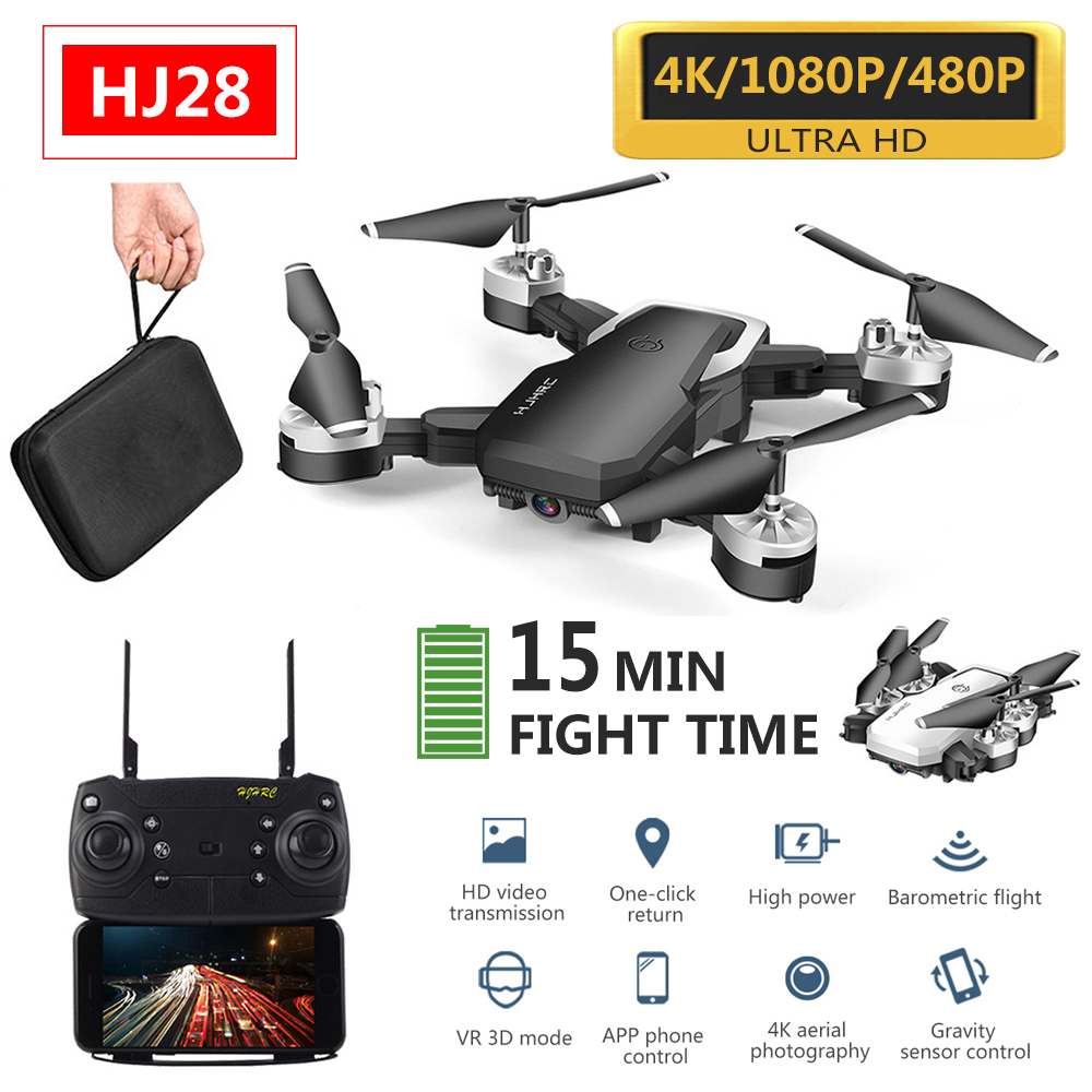 HJ28 Drone Drone Long Flight Time 4k Profesional Wide Angle Camera WiFi Fpv Dron Quadcopter Height Keep Drones With HD Camera