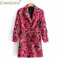 Fashion Women Fantasy Pink Flowers Print Long Sleeve Jacket Coat Turn Down Collar Street Fashion Blazer Suit with Sashes 9902