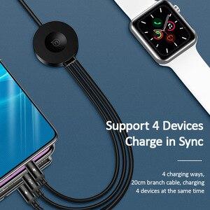 Image 4 - USAMS Qi Draadloze Oplader voor Apple Horloge Serie 5 4 3 2 1 4 in 1 USB Opladen Data Kabel voor iPhone USB Type C Micro Usb kabel