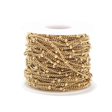 2 Meters Stainless Steel Gold Tone Satellite Chains Beaded Ball Curb Chains for DIY Necklace Bracelet Anklet Jewelry Making(China)