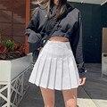 Женские плиссированные юбки с высокой талией, школьная белая/черная мини-юбка для девушек, свободная повседневная короткая юбка