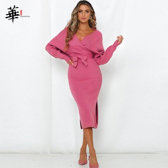 Женское трикотажное платье зимние пикантные туфли на каждый день с длинным рукавом; Модные вечерние плюс Размеры в винтажном стиле; Элегантный свитер платья для женщин 4