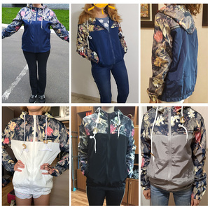Image 5 - Chaqueta corta negra Retro con estampado Floral para mujer, chaqueta Bomber ajustada de manga larga con cuello redondo, chaqueta de talla grande con cremallera fina