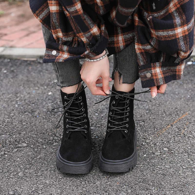STQ kış kadın hakiki deri çizmeler orta buzağı platformu su geçirmez kar botları bayanlar dantel up kış kar botları ayakkabı J2987