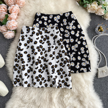 ZOSOL Skirt Womens Summer 2020 New Korean Ins Daisy Printed High Waist Slim A- line