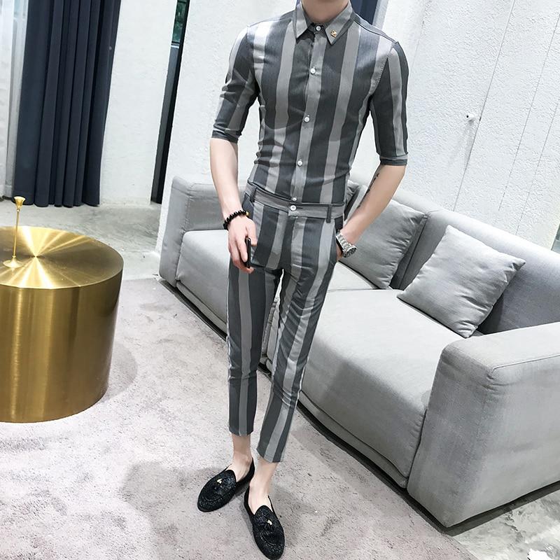 2019 Summer Fashion Unique Design Men's Suit Two-piece Casual Striped Men's Slim Casual Shirt With Men's Trousers Latest Men Set