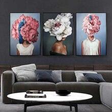 Абстрактная Картина на холсте с цветами и перьями для женщин