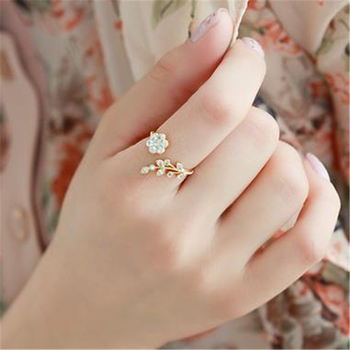 1PCS Crystal Alloy Flower Branch Leaf Finger Wedding Rings For Women Sliver Gold Open Ring Glamour Jewelry Gift image
