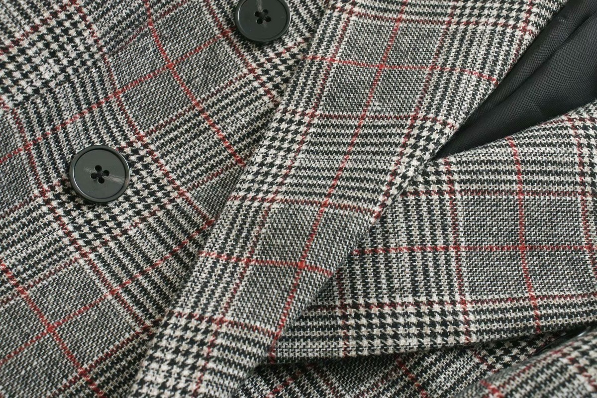 Casual ladies blazer 2020 new spring and autumn plaid loose double-breasted suit Office jacket feminine Fashion coat