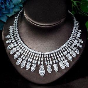 Image 4 - HIBRIDE جديد كامل AAA زركون الكبير Pendientes طقم مجوهرات للنساء الزفاف اكسسوارات الزفاف بارور بيجو فام N 1151