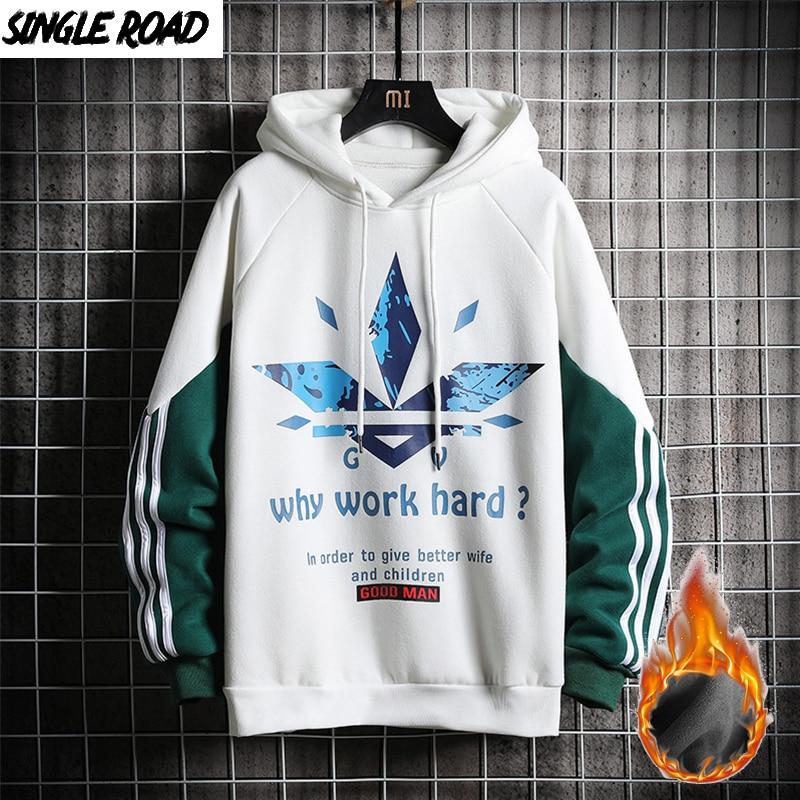 SingleRoad Men's Winter Fleece Hoodies 2019 Side Striped Printed Sweatshirt Male Hip Hop Japanese Streetwear White Hoodie Men