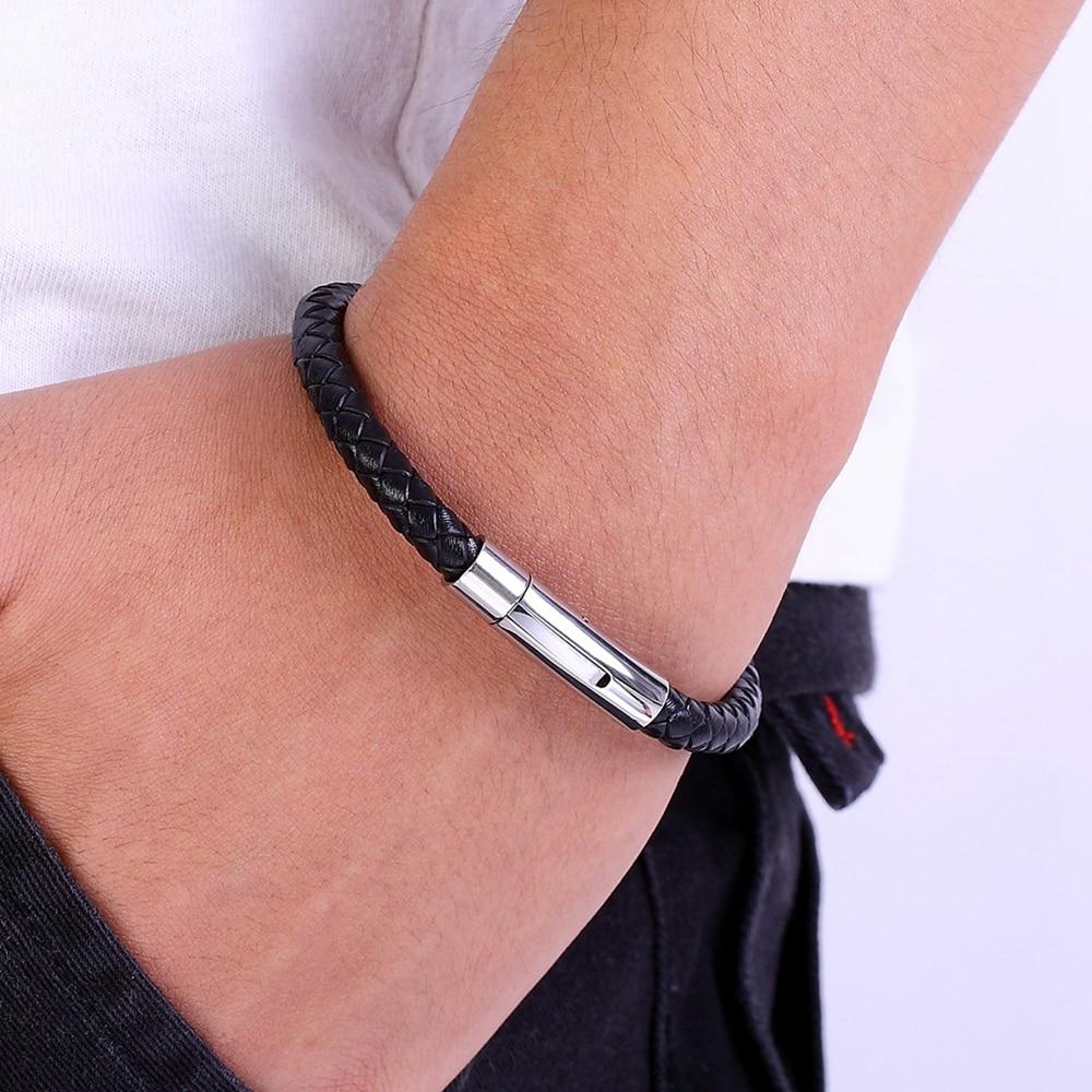 Bracelet en acier inoxydable cuir tresse 3
