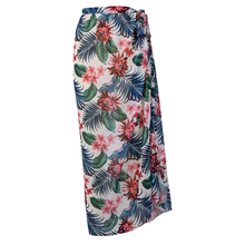 Hirigin 2021 Women Casual Clothes Beach Dresses Sexy Slit Skirt White Floral and Leaves Printed Pattern High Waist Long Dress