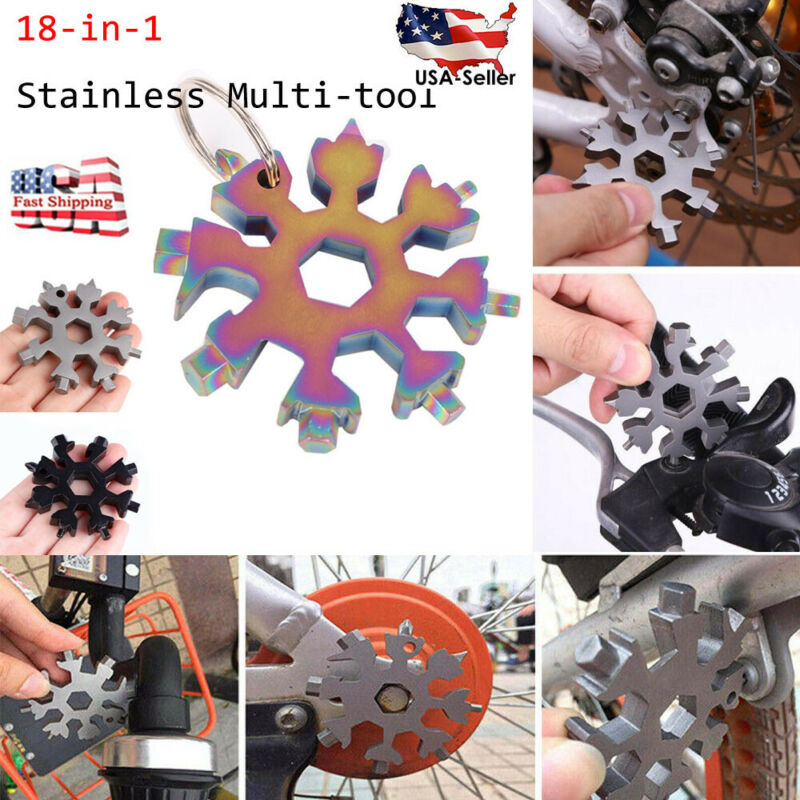 Stainless Steel Snowflake Wrench with Storage Bag Key Ring and Carabiner Clip Black 1 Pcs 18-in-1 Snowflake Standard Multi Tool Snowflake Multitool