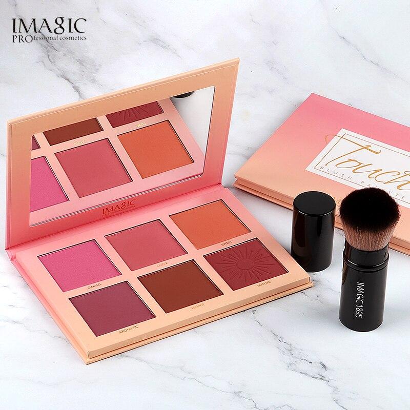 IMAGIC Blush Palette Makeup 6 Colors Professional Cheek Blush Pearl Orange Pigment High Quality Beauty Cosmetic Makeup Blushes