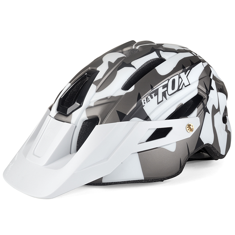 Cool Mountain Bicycle Helmet Camouflage Helmet MTB Road Bike Riding Helmet Big Brim Hat With Tail Light BAT FOX Safety Helmet