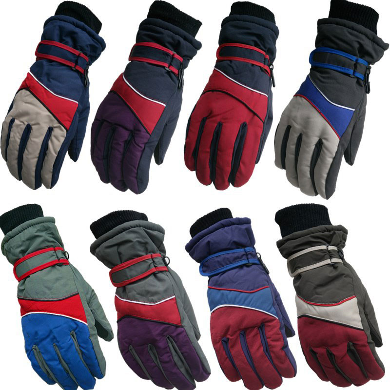 Men And Women Winter Windproof Ski Gloves Multicolor Color Matching Water Repellent Cycling Cold Warm Gloves