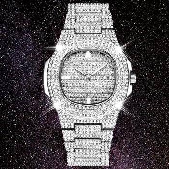 DropShipping nowy 2020 ICE Out rola Hip Hop zegarek diamentowy zegarek mężczyźni srebrny stal męskie zegarki kwarcowe wodoodporny Relogio Masculino tanie i dobre opinie JINNAIER 24cm Luxury ru QUARTZ 3Bar Bransoletka zapięcie Stop 11mm Hardlex Kwarcowe Zegarki Na Rękę Nie pakiet STAINLESS STEEL
