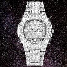 Dropshipping novo 2020 gelo para fora papel hip hop relógio diamante relógio masculino aço prata dos homens relógios de quartzo à prova dwaterproof água relogio masculino