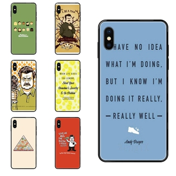 For Redmi Note 4 5 5A 6 7 8 8T 9 9S Pro Max Black Soft Personalized Pattern Funny Parks And Recreation Overstock image