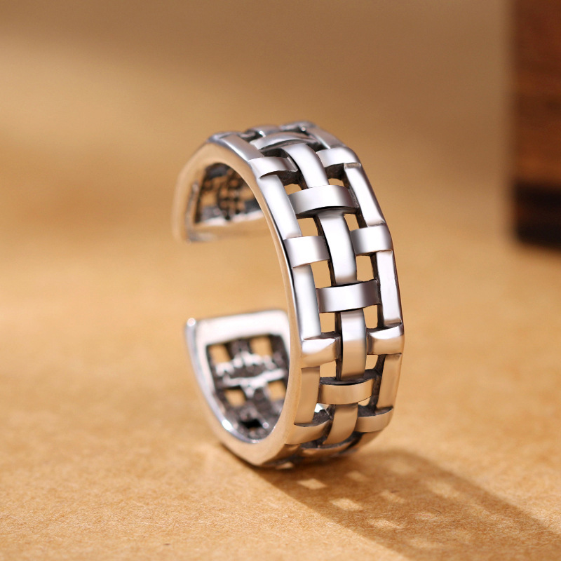 2019 New Retro Hollow Interwoven Mesh Ring 925 Sterling Silver Opening Ring For Women Thai Handmade Antique Silver Jewelry