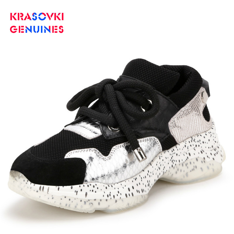 Krasovki Genuines Sneakers Women Autumn Leather Dropshipping Mixed Colors Round Toe Fashion Thick Bottom Leisure Women Shoes