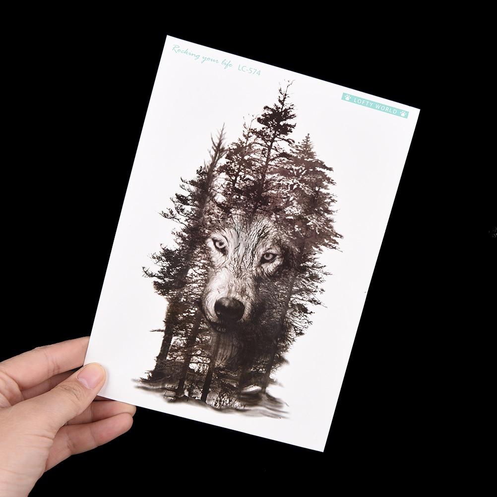 Waterproof Temporary Tattoo Sticker Wolf Forest Tatto Stickers Flash Tatoo Fake Tattoos For Women  Men 1Pc 21*15cm