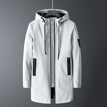 Streetwear Man New Autumn Casual Long Jacket Trench Coats Men Fashion Hooded Sol