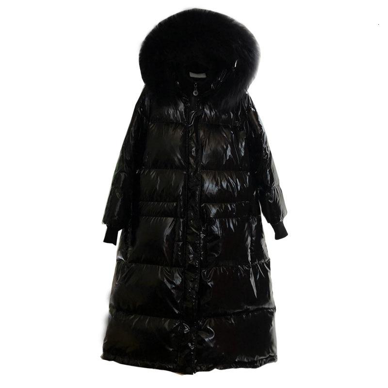 2019 x long 90% duvet manteau à capuche avec véritable col de fourrure hiver chaud veste femmes épais imperméable femme Parka bouffante neige Outwear - 6