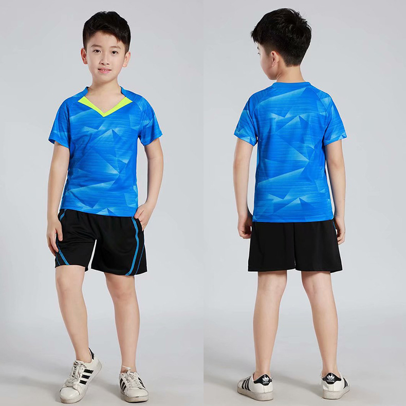 019 New Style CHILDREN'S Short-sleeved Clothes Table Tennis Wear Set Men And Women Childrenswear Quick-Dry Game Training Suit Sp