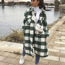 Oversized Coat Outfits Windbreaker Women Jackets Chic Long-Checked Casual Fashion New