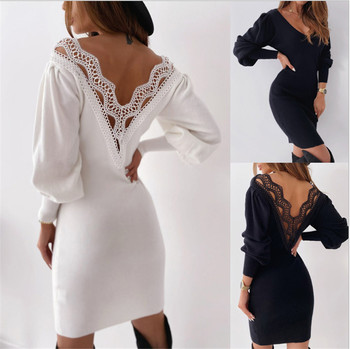Autumn Women Lace Puff Long Sleeve Sweater Dresses Jumper Office Ladies Elegant Casual Solid Pullover Hollow Out Backless Dress 2020 elegant knitted sweater dress women korean causal autumn spring hollow out long sleeve loose pullover long dress black