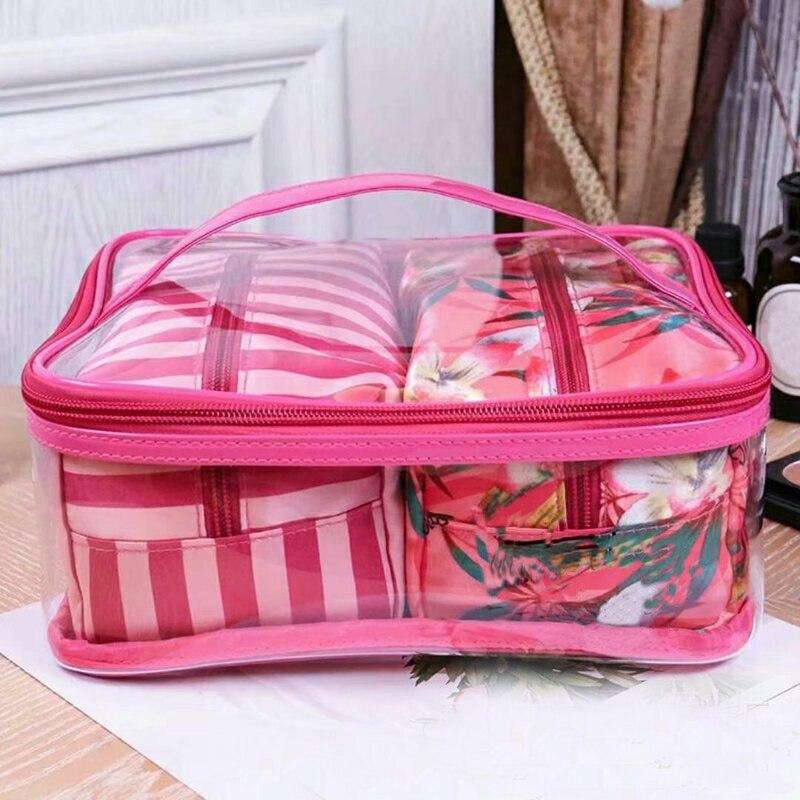 New Korean Version 3 Pcs Transparent PVC Cosmetic Bag Women Pink Travel Cosmetic Bag Organizer Beauty Makeup Bags Free Shipping