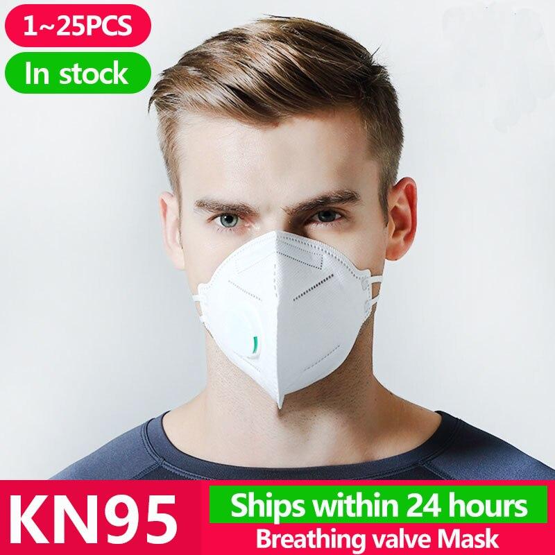 1~25PCS KN95 Masks Antivirus Disposable Pm2.5 Face Mouth Mask Flu Facia Dust Filter Mascarilla Respirator Template FFP2 FFP3