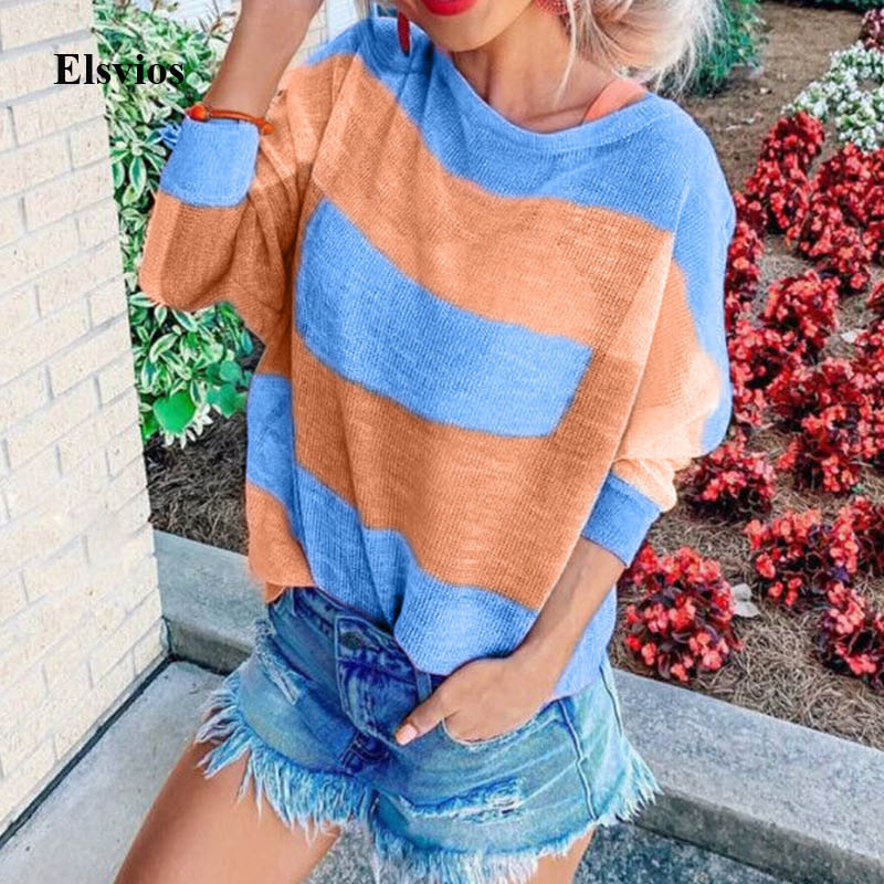 Elsvios Autumn Patchwork Print Knitted Sweaters Women Winter Batwing Long Sleeve Pullovers Ladies O-Neck Streetwear Sweater Tops
